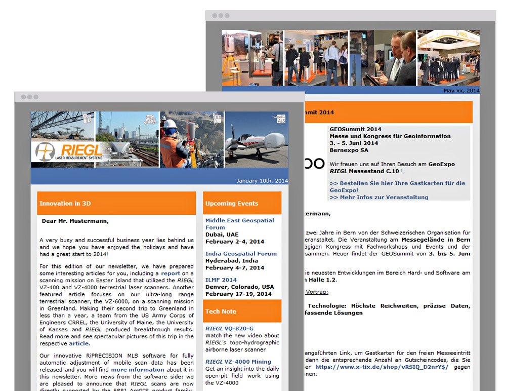 Newsletter für Riegl Laser Measurement Systems by bestHeads