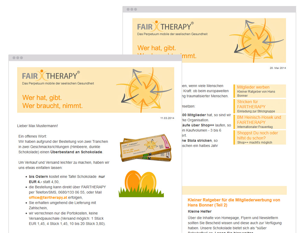 Newsletter für den verein Fairtherapy by bestHeads