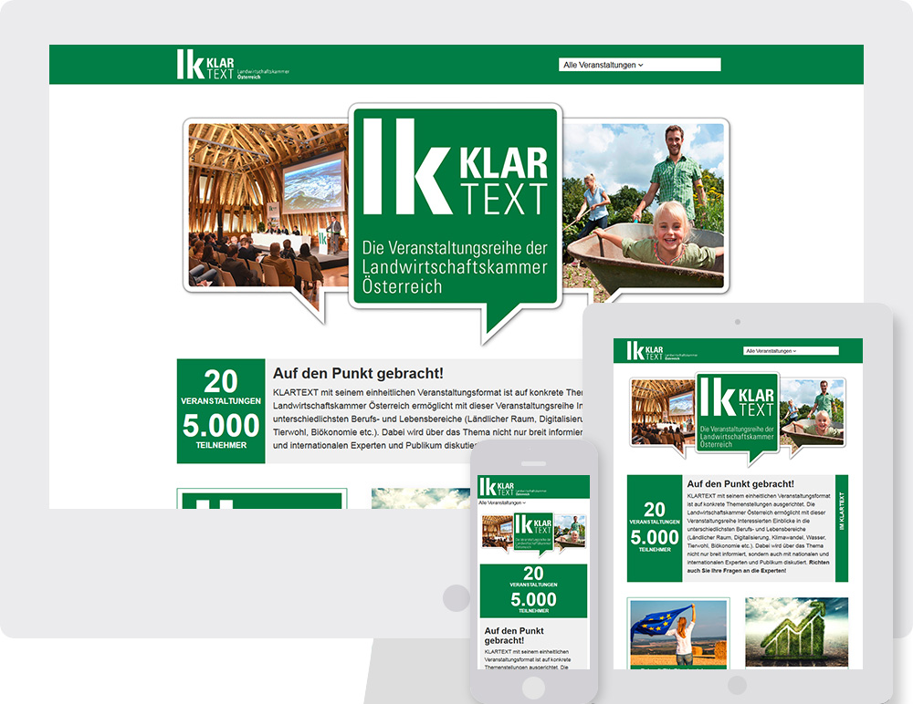 "Referenz - Website ""LK-Klartext"" am Computer, Tablet und Smartphone"